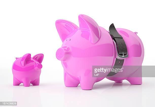 Sparschwein Vater und Sohn Ledergürtel Drücken den Vater.