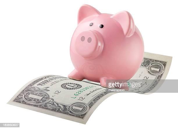 Piggy bank flying on a dollar bill.