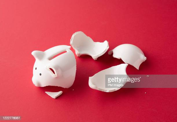 piggy bank in pieces - concept stock pictures, royalty-free photos & images