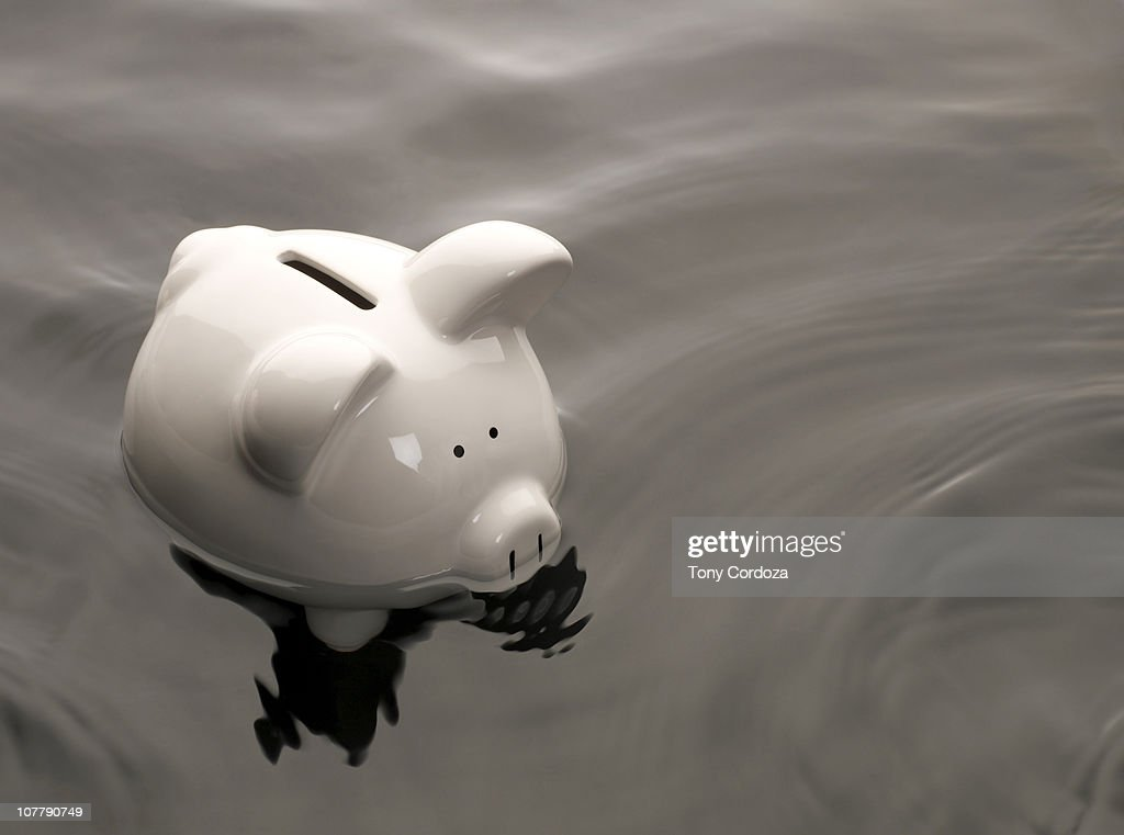 Piggy Bank in water : Stock Photo