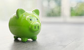 Piggy bank on home floor real estate investment concept
