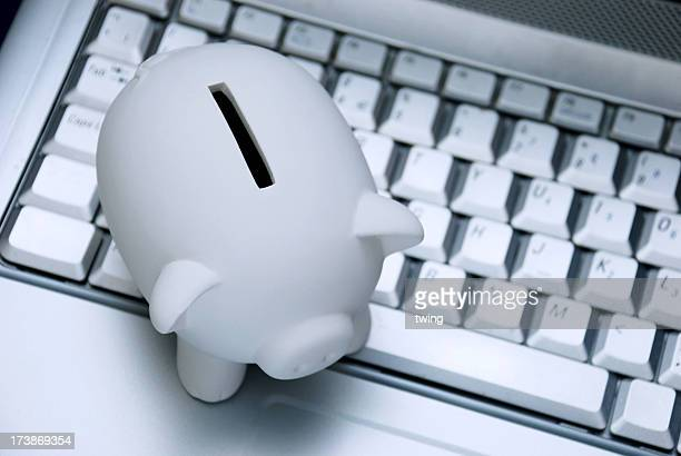 Piggy bank on keyboard