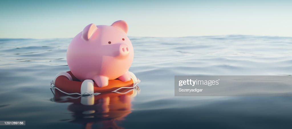 Piggy Bank auf Rettungsboje, 3d Render : Stock-Foto