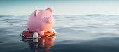 Piggy Bank On Lifebuoy, 3d Render