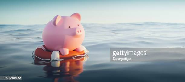 piggy bank on lifebuoy, 3d render - emergencies and disasters stock pictures, royalty-free photos & images