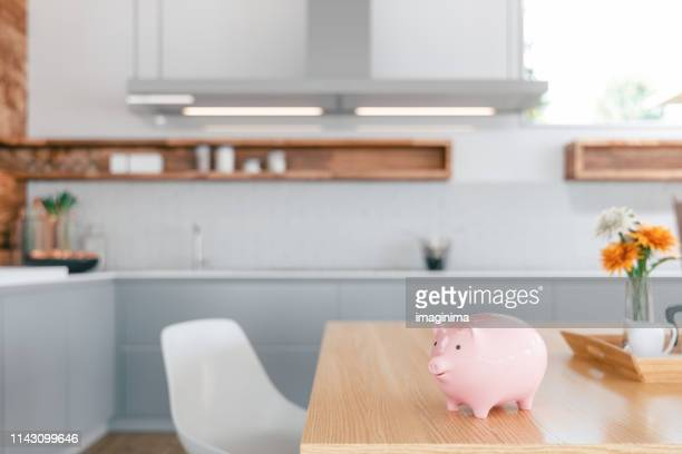 piggy bank on the kitchen counter - home finances - pianale da cucina foto e immagini stock