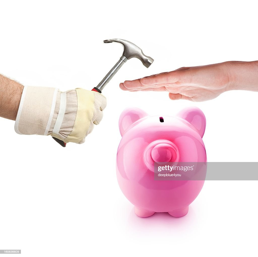 Piggy bank protection : Stock Photo