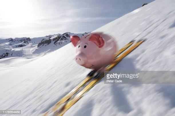 piggy bank skiing - alpine skiing stock pictures, royalty-free photos & images