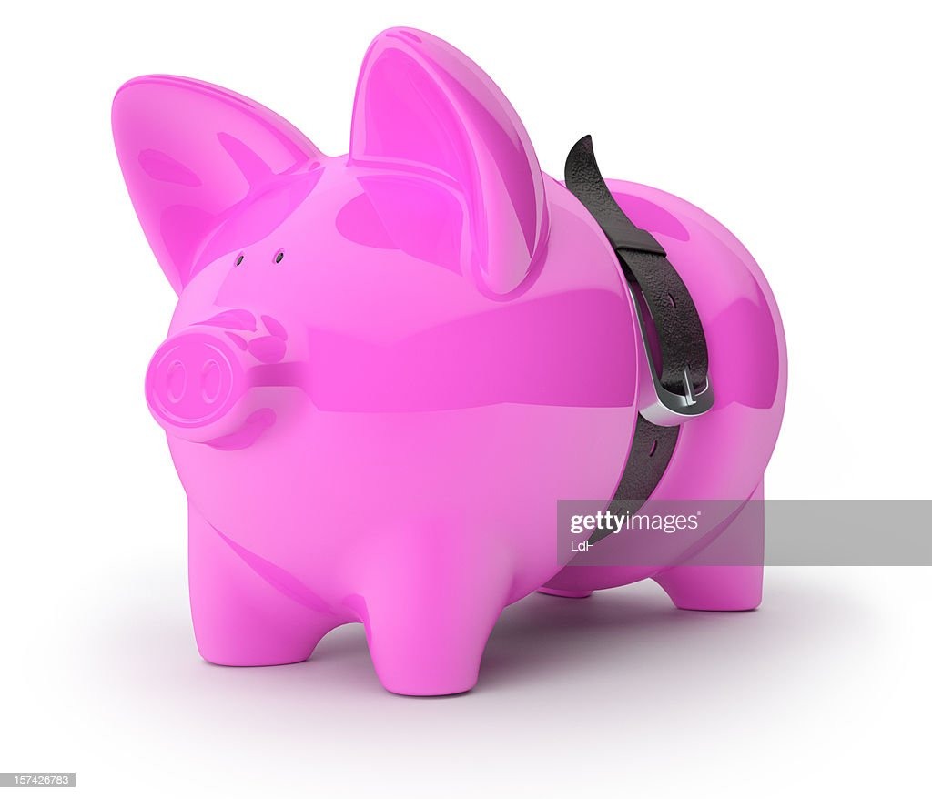 Piggy Bank squeezed by a leather belt : Stock Photo