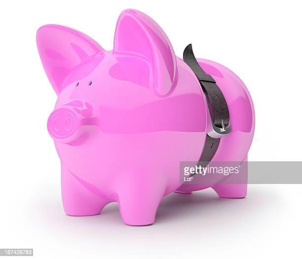 Sparschwein gepressten Ein Ledergürtel