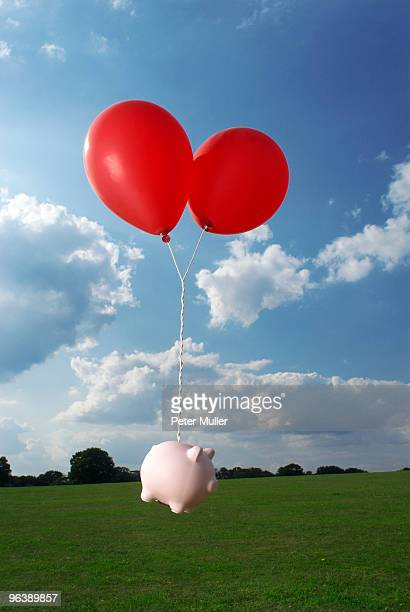 piggy bank tied to balloons
