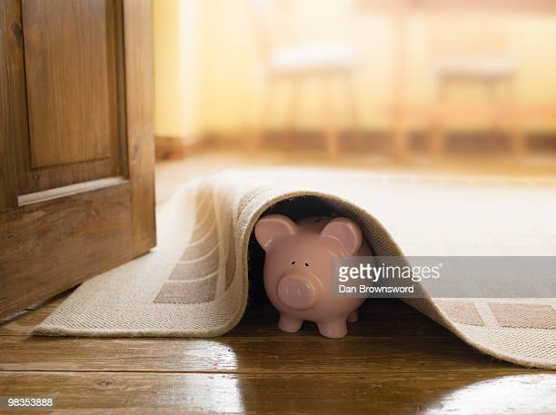 Piggy bank under rug
