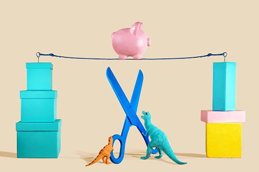 Piggy Bank Walking a Tightrope - gettyimageskorea
