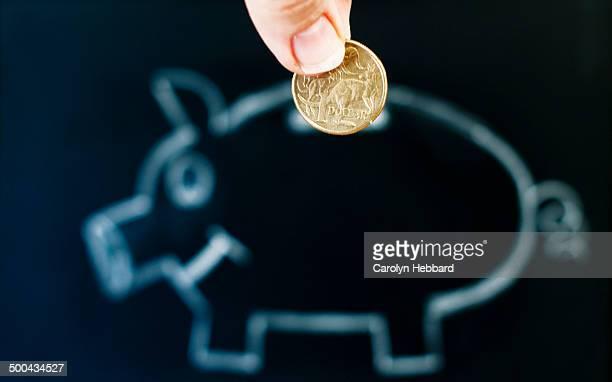 Piggy Bank with Australian Dollar Coin