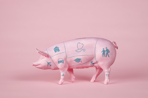 Piggy Bank with Butcher's Diagram and Icons - gettyimageskorea