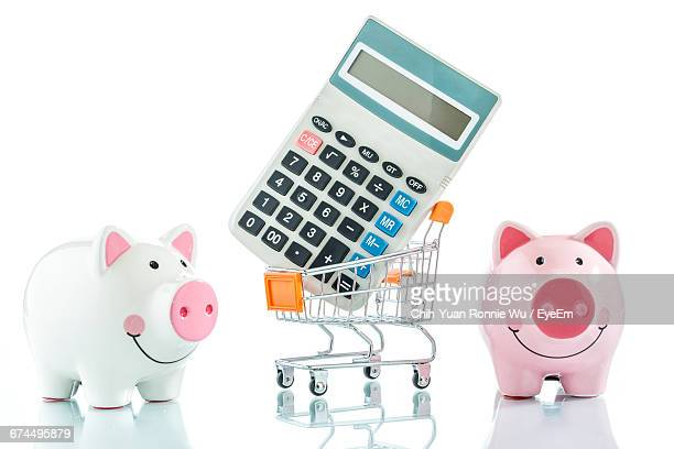 Piggy Bank With Calculator And A Shopping Trolley Isolated On White