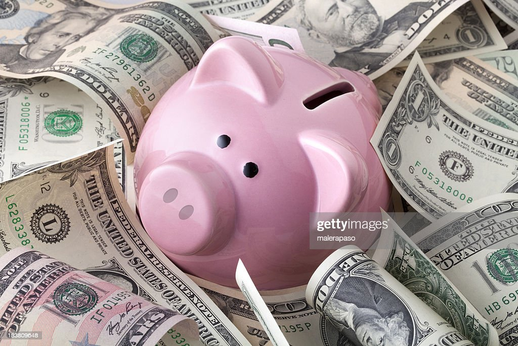 Piggy bank with dollars banknotes : Stock Photo