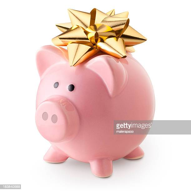 Piggy bank with golden bow