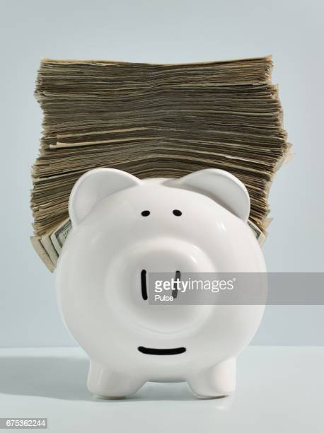Piggy bank with stack of money on top.
