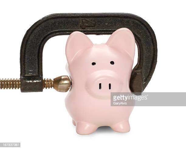 Piggy bank w/squeezing C clamp&clipping path