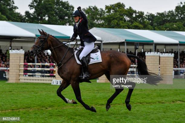 Piggy French riding Vanir Kamira celebrates getting into second place in The Land Rover Burghley Horse Trials 2017 on September 3 2017 in Stamford...