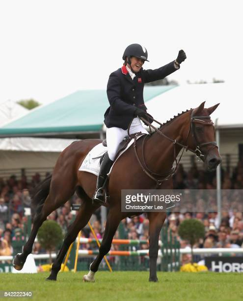 Piggy French riding Vanir Kamira celebrates going into second place during Day Four of The Land Rover Burghley Horse Trials 2017 on September 2 2017...