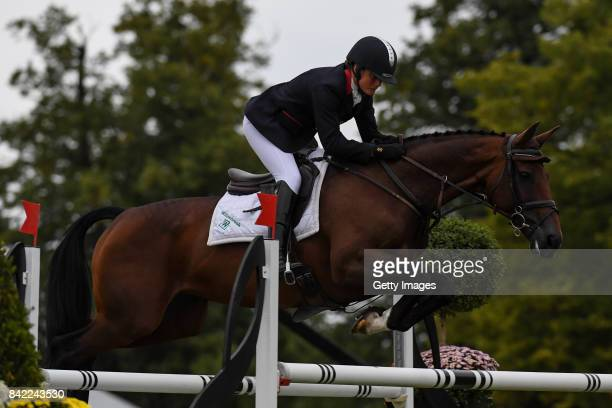 Piggy French riding Vanir Kamira in the Show Jumping during The Land Rover Burghley Horse Trials 2017 on September 3 2017 in Stamford England