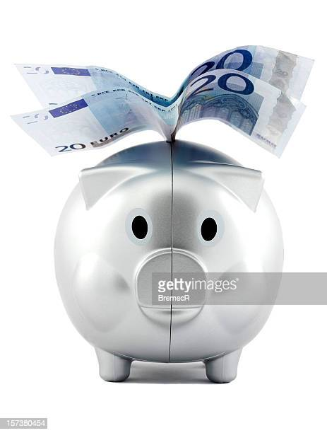 Piggy money box with Euro wings