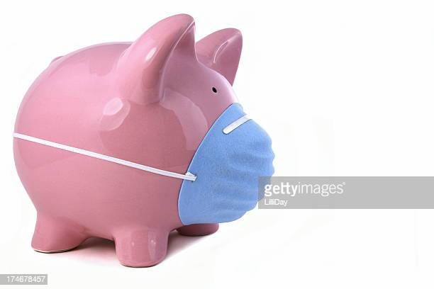 Piggy with Mask for Flu Concept
