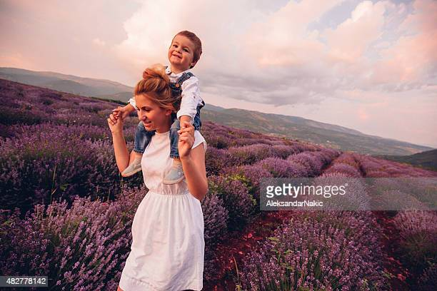 Piggyback ride at the lavender field