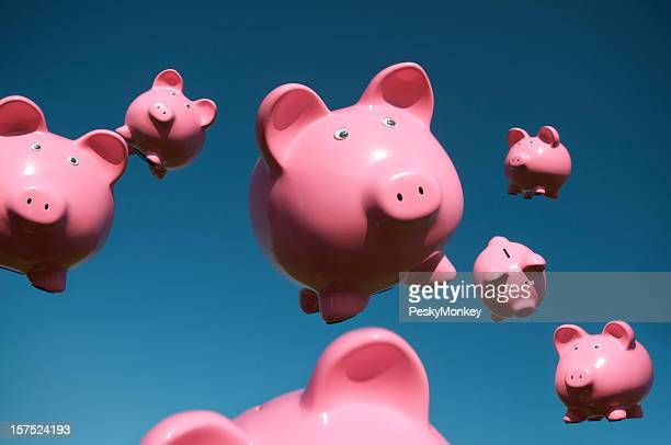 Pigs Fly in Sky Full of Flying Pink Piggy Banks