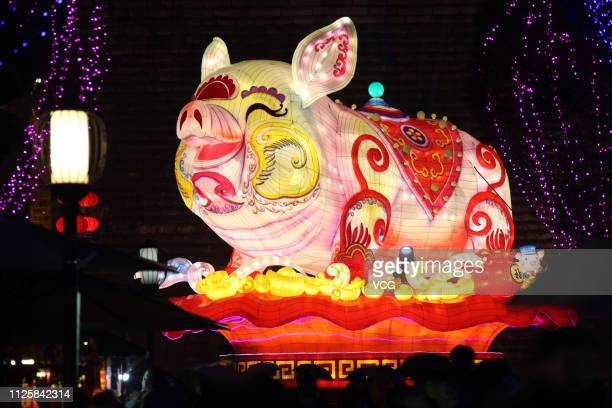 A pigshaped lantern is on display during the 33rd China Qinhuai Lantern Festival on January 28 2019 in Nanjing Jiangsu Province of China The 33rd...