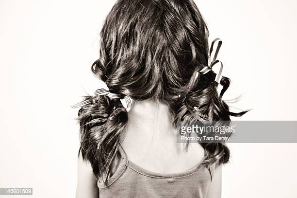 pigtails - black hair stock pictures, royalty-free photos & images