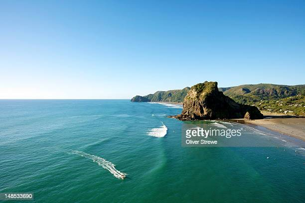 piha beach and lion rock. - auckland stock pictures, royalty-free photos & images
