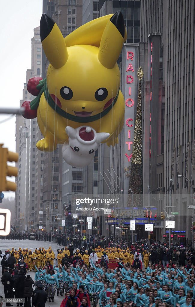 Pikachu balloon floats for the 88th Annual Thanksgiving Day Parade outside Macy's Department Store in Herald Square on November 27, 2014 in New York City.