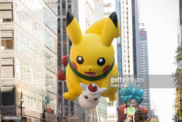 Pikachu balloon is seen at the 2018 Macy's Thanksgiving Day Parade on November 22 2018 in New York City