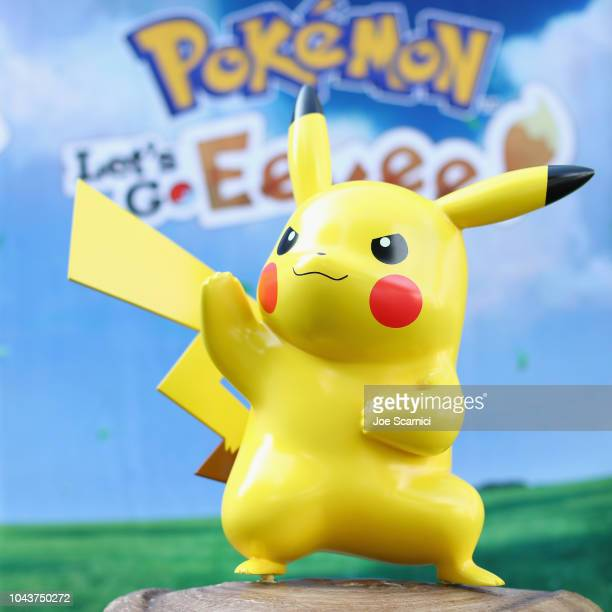 Pikachu on display during Pikachu And Eevee Embark on a Road Trip Across the US To Demo New Pokemon Game on September 29 2018 in Santa Monica...