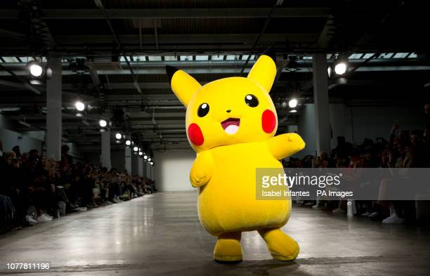 A Pikachu on the catwalk during the Bobby Abley London Fashion Week Men's AW19 show held at BFC Show Space London Picture date Saturday 5 January...