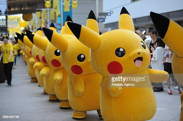 Pikachu parade is seen in Minatomirai in Yokohamas Japan on August 14 2016 Japanese enjoy the summer holidays as they take part to the Pikachu dance...