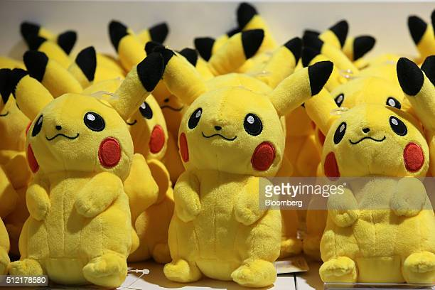 Pikachu plush toys are displayed for sale at the Pokemon Center Mega Tokyo store in Tokyo Japan on Wednesday Feb 24 2016 Pokemon a multimedia...
