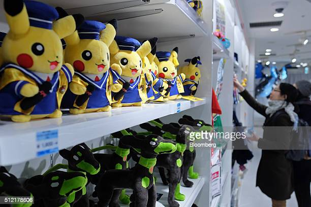 Pikachu plush toys top left are displayed for sale at the Pokemon Center Mega Tokyo store in Tokyo Japan on Wednesday Feb 24 2016 Pokemon a...