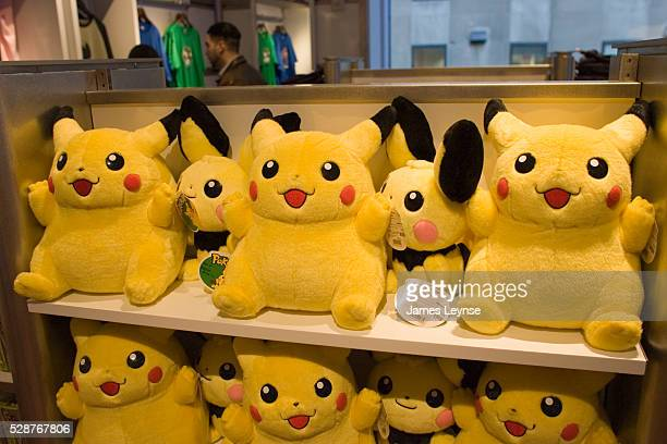 Pikachu Pokemon stuffed dolls on display during the grand opening of Nintendo World in Rockefeller Center Nintendo's first showpiece store offering...