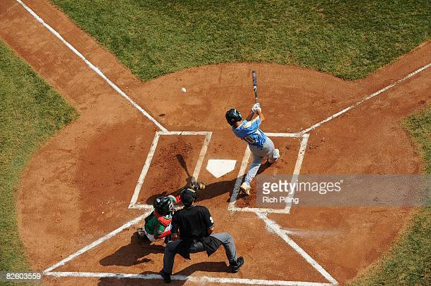 Pikai Winchester of the Waipio Little League team hits during the World Series Championship game against the Matamoros Little League team at Lamade...