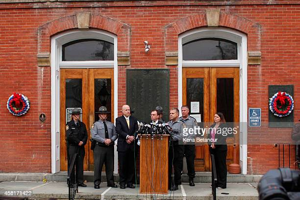Pike County District Attorney Raymond Tonkin attends a press conference in the front of the court house after Eric Frein makes first court appearance...