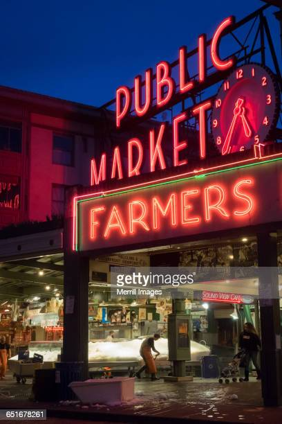 Pike Place Market exterior in the evening