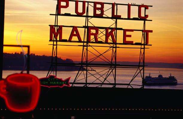 Pike Place Market sign, Seattle, Washington, United States of America, North America