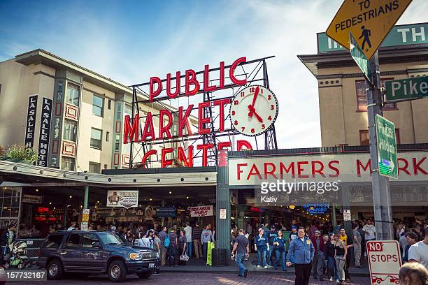 pike place - public market in seattle - seattle stock pictures, royalty-free photos & images