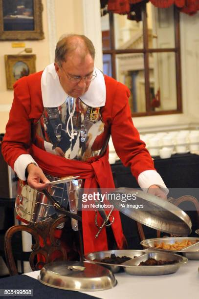 A pikeman of the Honourable Artillery Company relaxes following a reception at Mansion House following the service of commemoration at St Paul's...