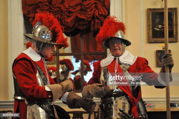 Pikemen of the Honourable Artillery Company relax following a reception at Mansion House following the service of commemoration at St Paul's...