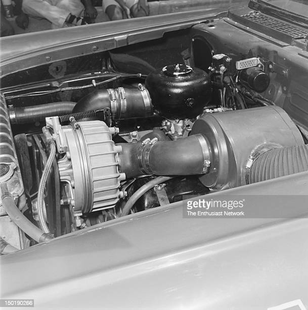 Pikes Peak Hill Climb Engine compartment of Jerry Unser's Hot Rod Magazine Special exposing the McCullough supercharger